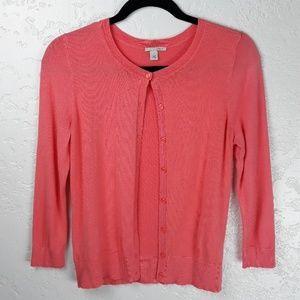 Halogen Coral Pink Viscose Cardigan 3/4 Sleeve
